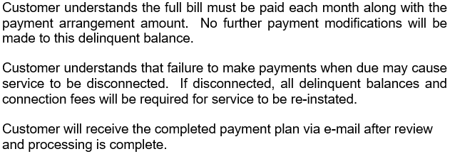 Payment Plan Verbiage for website